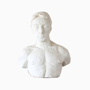 Life Size Male Plaster Bust, Late 20th Century
