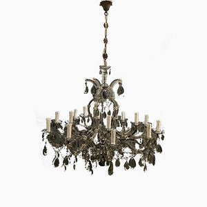 Large Vintage Murano Glass 16-Light Chandelier with Crystals, 1960s