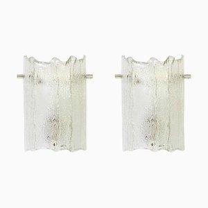 Murano Eisglas Vanity Wandleuchten von Kaiser Leuchten, 1970er, 2er Set