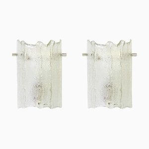 Murano Ice Glass Vanity Sconces from Kaiser Leuchten, 1970s, Set of 2