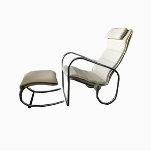 Swiss Bauhaus Lounge Chair & Stool by Hans Eichenberger for Strässle, 1990s, Set of 2