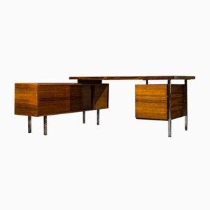Palisander Schreibtisch mit Sideboard aus Chrom, 1960er