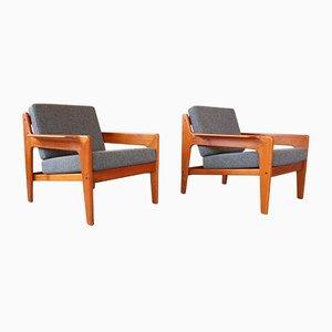 Mid-Century Teak Easy Chairs by Arne Wahl Iversen for Komfort, 1960s, Set of 2
