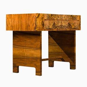 Small Art Deco Walnut Desk, 1930s