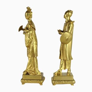 H Galy, Sculptures, Gilded Bronze Chinese Couple, 19th Century, Set of 2