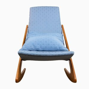 Large Danish Teak & Fabric Rocking Chair, 1960s