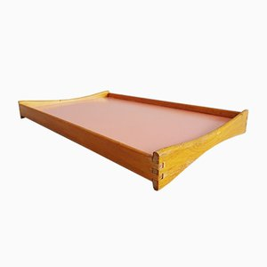 German Wood and Yellow & Pink Formica Tray, 1950s