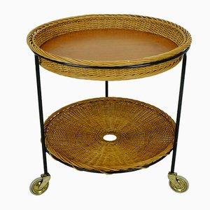Rattan, Teak & Metal String Serving Trolley, 1950s