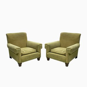 Napoleon III Style Green Velvet Lounge Chairs, 1930s, Set of 2