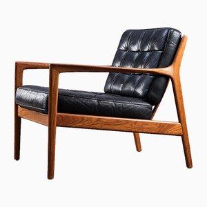 Schwarzer Leder USA-75 Sessel von Folke Ohlsson für Dux, 1960er