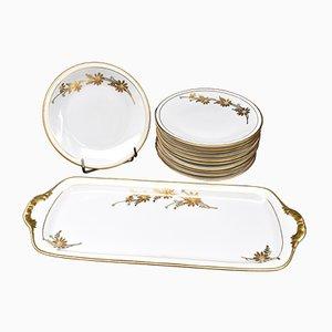 Vintage Porzellan Kuchen Set von R. Rosier für Limoges, 12er Set