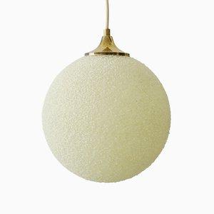 Granule & Brass Orb Ceiling Lamp, 1960s