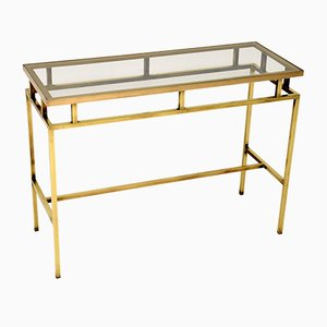 Brass and Glass Console Table, 1960s