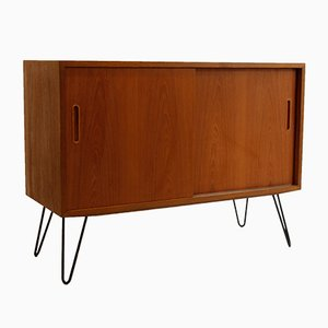 Mid-Century Teak Sideboard with Sliding Doors by Poul Hundevad for Hundevad & Co., 1950s