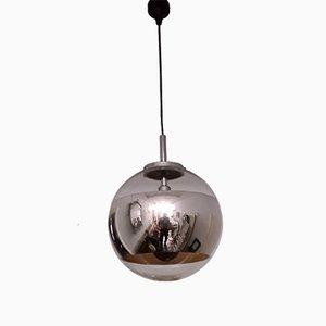 Vintage Glas & Chrom Deckenlampe von Hoffmeister- Leuchten, 1970er