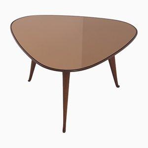 Tavolino da caffè Mid-Century in legno e specchio arancione scuro di Osvaldo Borsani, anni '50
