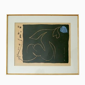 André Masson, Femme Nue à la Feuille, 1956, Blue Color Lithograph, Nr. 3 of 40