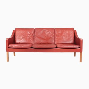 Danish Patinated Leather Sofa by Børge Mogensen for Fredericia, 1990s