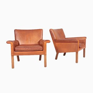 Patinated Leather Lounge Chairs by Hans J. Wegner for A.P. Stolen, 1960s, Set of 2
