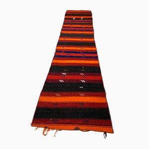 Turkish Red and Black Narrow Kilim Runner
