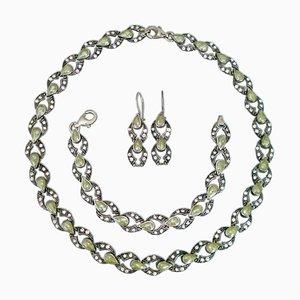 Set in argento con collana, bracciale e orecchini, anni '80, set di 4