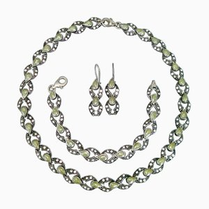 Silver Necklace, Bracelet and Earrings Set, 1980s, Set of 4
