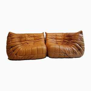 Vintage Cognac Leather Togo Sofa Modules by Michel Ducaroy for Ligne Roset, Set of 2