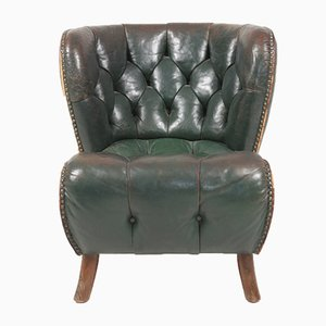Danish Patinated Leather Lounge Chair, 1940s