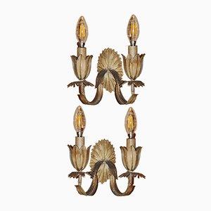 Metall Blumen Wandlampen, 1960er, 2er Set
