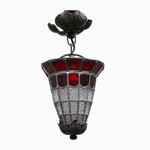 Antique French Art Nouveau Leaded Glass Ceiling Lamp