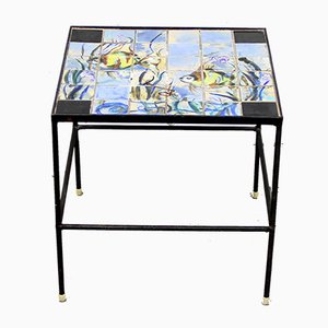 Hand-painted Ceramic & Iron Side Table, 1950s