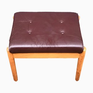 Vintage Scandinavian Beech & Leather Ottoman from Farstrup Møbler, 1970s