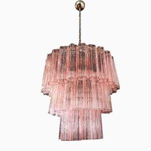 Pink Tubular Murano Glass Chandelier, 1980s