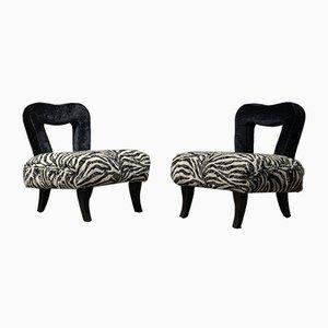 Art Deco Black and White Velvet French Armchairs, 1920s, Set of 2