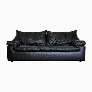Vintage Black Leather Sofa from Cinna, 1980s