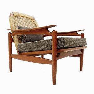 Danish Teak & Wicker Armchair, 1960s
