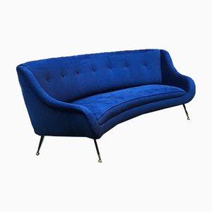 Italian Blue Velvet Comma-Shaped Sofa on Metal Legs, 1950s