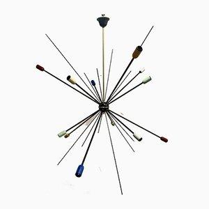 Schwarze Sputnik Deckenlampe, 1949