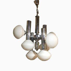 Chrom Deckenlampe mit 8 Lampenschirmen, 1960er