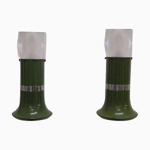 Italienische Vintage Emaillierte Metall & Plexiglas Wandlampen, 1970er, 2er Set