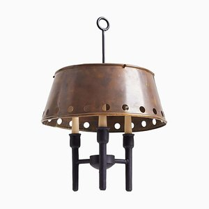Brass and Black Ceiling Lamp, 1950s