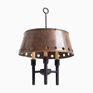 Schwarze Messing Deckenlampe, 1950er