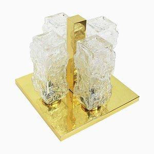 Square Brass Ice Glass Flush Mount from Hillebrand Lighting, 1970s