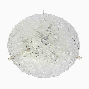 Round Ice Glass Flush Mount by Kaiser Leuchten, 1970s