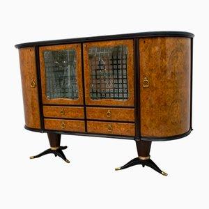 Italian Mahogany and Burr Walnut Sideboard / Bar from La Permanente Mobili Cantù, 1950s