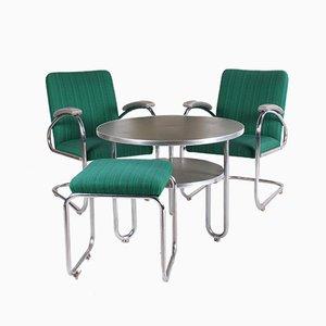 Deutsche Bauhaus Bridge Armlehnstühle, Tisch & Hocker von Mauser Werke Waldeck, 1930er, 4er Set