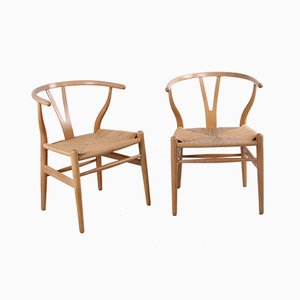 Oak CH24 Wishbone Dining Chairs by Hans J. Wegner for Carl Hansen & Søn, 1960s, Set of 2