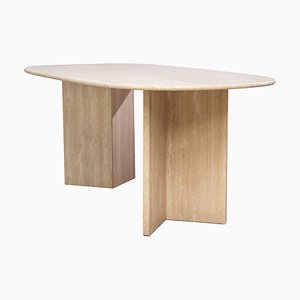 Oval Travertine Architectural Dining Table, 1970s
