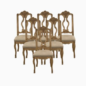 Antique Bleached Oak Dining Chairs, Set of 6