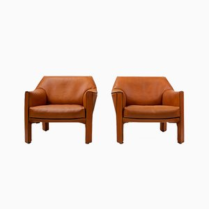 Cab 415 Armchairs by Mario Bellini for Cassina, 1980s, Set of 2
